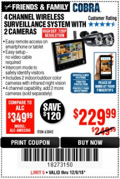 Harbor Freight Coupon 4 CHANNEL WIRELESS SURVEILLANCE SYSTEM WITH 2 CAMERAS Lot No. 63842 Expired: 12/9/18 - $229.99