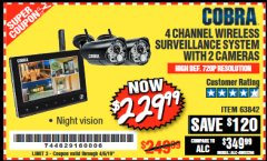 Harbor Freight Coupon 4 CHANNEL WIRELESS SURVEILLANCE SYSTEM WITH 2 CAMERAS Lot No. 63842 Expired: 4/5/19 - $229.99