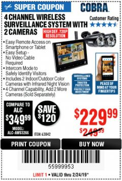 Harbor Freight Coupon 4 CHANNEL WIRELESS SURVEILLANCE SYSTEM WITH 2 CAMERAS Lot No. 63842 Expired: 2/24/19 - $229.99