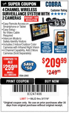 Harbor Freight Coupon 4 CHANNEL WIRELESS SURVEILLANCE SYSTEM WITH 2 CAMERAS Lot No. 63842 Expired: 3/17/19 - $209.99