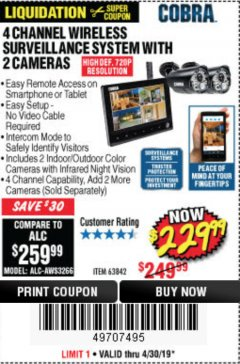 Harbor Freight Coupon 4 CHANNEL WIRELESS SURVEILLANCE SYSTEM WITH 2 CAMERAS Lot No. 63842 Expired: 4/30/19 - $229.99