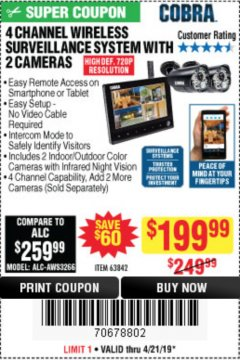 Harbor Freight Coupon 4 CHANNEL WIRELESS SURVEILLANCE SYSTEM WITH 2 CAMERAS Lot No. 63842 Expired: 4/21/19 - $199.99
