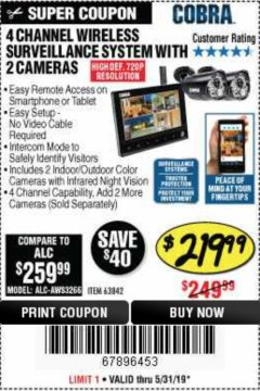 Harbor Freight Coupon 4 CHANNEL WIRELESS SURVEILLANCE SYSTEM WITH 2 CAMERAS Lot No. 63842 EXPIRES: 5/31/19 - $219.99