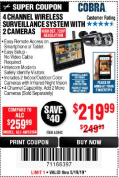 Harbor Freight Coupon 4 CHANNEL WIRELESS SURVEILLANCE SYSTEM WITH 2 CAMERAS Lot No. 63842 Expired: 5/19/19 - $219.99