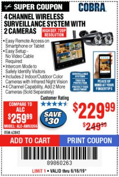 Harbor Freight Coupon 4 CHANNEL WIRELESS SURVEILLANCE SYSTEM WITH 2 CAMERAS Lot No. 63842 Expired: 6/16/19 - $229.99