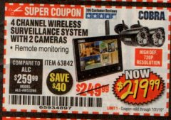 Harbor Freight Coupon 4 CHANNEL WIRELESS SURVEILLANCE SYSTEM WITH 2 CAMERAS Lot No. 63842 Expired: 7/31/19 - $219.99
