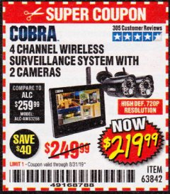 Harbor Freight Coupon 4 CHANNEL WIRELESS SURVEILLANCE SYSTEM WITH 2 CAMERAS Lot No. 63842 Expired: 8/31/19 - $219.99