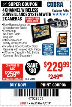 Harbor Freight Coupon 4 CHANNEL WIRELESS SURVEILLANCE SYSTEM WITH 2 CAMERAS Lot No. 63842 Expired: 9/2/19 - $229.99