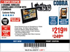 Harbor Freight Coupon 4 CHANNEL WIRELESS SURVEILLANCE SYSTEM WITH 2 CAMERAS Lot No. 63842 Expired: 9/22/19 - $219.99