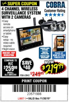 Harbor Freight Coupon 4 CHANNEL WIRELESS SURVEILLANCE SYSTEM WITH 2 CAMERAS Lot No. 63842 Expired: 11/30/19 - $219.99