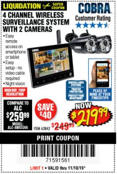 Harbor Freight Coupon 4 CHANNEL WIRELESS SURVEILLANCE SYSTEM WITH 2 CAMERAS Lot No. 63842 Expired: 11/10/19 - $219.99