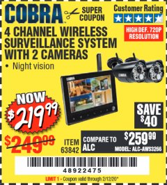 Harbor Freight Coupon 4 CHANNEL WIRELESS SURVEILLANCE SYSTEM WITH 2 CAMERAS Lot No. 63842 Expired: 2/12/20 - $219.99