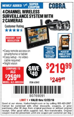 Harbor Freight Coupon 4 CHANNEL WIRELESS SURVEILLANCE SYSTEM WITH 2 CAMERAS Lot No. 63842 Expired: 12/22/19 - $219.99