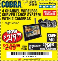 Harbor Freight Coupon 4 CHANNEL WIRELESS SURVEILLANCE SYSTEM WITH 2 CAMERAS Lot No. 63842 Expired: 2/3/20 - $219.99
