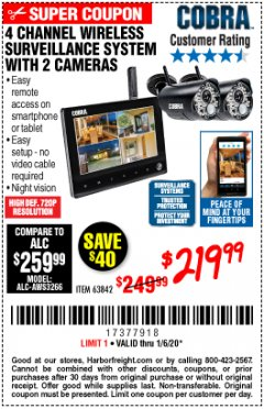 Harbor Freight Coupon 4 CHANNEL WIRELESS SURVEILLANCE SYSTEM WITH 2 CAMERAS Lot No. 63842 Expired: 1/6/20 - $219.99