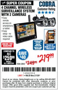 Harbor Freight Coupon 4 CHANNEL WIRELESS SURVEILLANCE SYSTEM WITH 2 CAMERAS Lot No. 63842 Expired: 2/7/20 - $219.99
