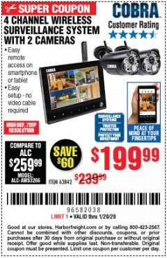 Harbor Freight Coupon 4 CHANNEL WIRELESS SURVEILLANCE SYSTEM WITH 2 CAMERAS Lot No. 63842 Expired: 1/20/20 - $199.99
