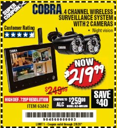 Harbor Freight Coupon 4 CHANNEL WIRELESS SURVEILLANCE SYSTEM WITH 2 CAMERAS Lot No. 63842 Expired: 2/8/20 - $219.99