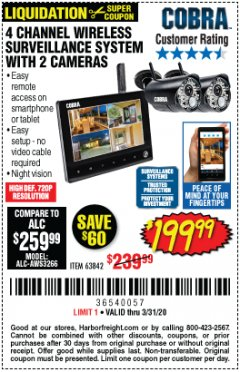 Harbor Freight Coupon 4 CHANNEL WIRELESS SURVEILLANCE SYSTEM WITH 2 CAMERAS Lot No. 63842 Valid Thru: 3/31/20 - $199.99