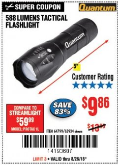 Harbor Freight Coupon 588 LUMEN TACTICAL FLASHLIGHT Lot No. 63934 Expired: 8/26/18 - $9.86