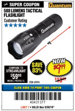 Harbor Freight Coupon 588 LUMEN TACTICAL FLASHLIGHT Lot No. 63934 Expired: 9/30/18 - $9.99