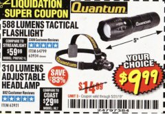 Harbor Freight Coupon 588 LUMEN TACTICAL FLASHLIGHT Lot No. 63934 EXPIRES: 5/31/19 - $9.99