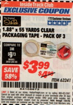 "Harbor Freight ITC Coupon 1.88"" X 55 YARD CLEAR PACKAGING TAPE PACK OF 3 Lot No. 63241 Expired: 7/31/19 - $3.99"