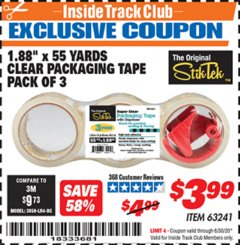 "Harbor Freight ITC Coupon 1.88"" X 55 YARD CLEAR PACKAGING TAPE PACK OF 3 Lot No. 63241 Expired: 6/30/20 - $3.99"