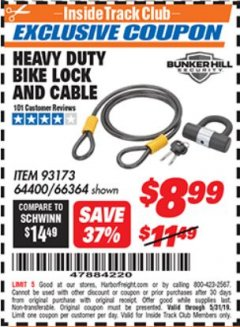 Harbor Freight ITC Coupon HEAVY DUTY BIKE LOCK AND CABLE  Lot No. 66364 Dates Valid: 12/31/69 - 5/31/19 - $8.99