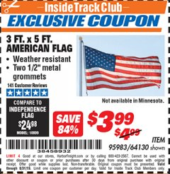 Harbor Freight ITC Coupon 3 FT. X 5 FT. AMERICAN FLAG  Lot No. 64130 Expired: 8/31/19 - $3.99