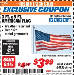 Harbor Freight ITC Coupon 3 FT. X 5 FT. AMERICAN FLAG  Lot No. 64130 Expired: 2/29/20 - $3.99