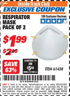 Harbor Freight ITC Coupon RESPIRATOR MASKS PACK OF 2 Lot No. 61438 Expired: 1/31/19 - $1.99
