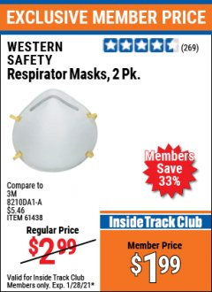 Harbor Freight ITC Coupon RESPIRATOR MASKS PACK OF 2 Lot No. 61438 Valid: 1/1/21 1/28/21 - $1.99
