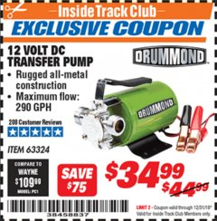 Harbor Freight ITC Coupon 12 VOLT DC TRANSFER PUMP Lot No. 63324 Valid Thru: 12/31/19 - $34.99