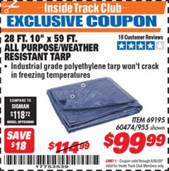 "Harbor Freight ITC Coupon 28 FT. 10"" X 59 FT. ALL PURPOSE/WEATHER RESISTANT TARP Lot No. 69195 Dates Valid: 12/31/69 - 6/30/20 - $99.99"