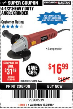"Harbor Freight Coupon 4-1/2"" HEAVY DUTY ANGLE GRINDER Lot No. 91223/60372 Expired: 10/28/18 - $16.99"