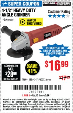"Harbor Freight Coupon 4-1/2"" HEAVY DUTY ANGLE GRINDER Lot No. 91223/60372 EXPIRES: 6/30/20 - $16.99"