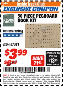 Harbor Freight ITC Coupon 50 PIECE PEGBOARD HOOK KIT Lot No. 67581 Expired: 8/31/18 - $3.99
