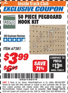 Harbor Freight ITC Coupon 50 PIECE PEGBOARD HOOK KIT Lot No. 67581 Valid Thru: 3/31/19 - $3.99