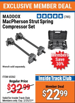 Harbor Freight ITC Coupon MACPHERSON STRUT SPRING COMPRESSOR SET Lot No. 63262 Expired: 2/25/21 - $22.99