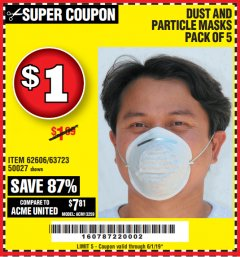 Harbor Freight Coupon DUST AND PARTICLE MASK 5 PACK Lot No. 62606/63723/50027 Expired: 6/1/19 - $1