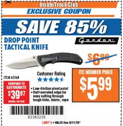 Harbor Freight ITC Coupon DROP POINT TACTICAL KNIFE Lot No. 63168 Expired: 9/11/18 - $5.99