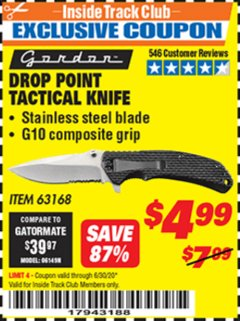 Harbor Freight ITC Coupon DROP POINT TACTICAL KNIFE Lot No. 63168 Dates Valid: 12/31/69 - 6/30/20 - $4.99