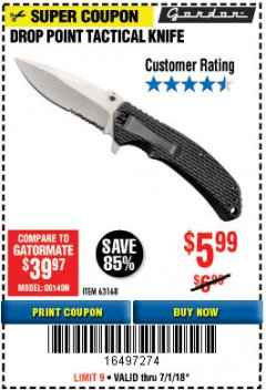 Harbor Freight Coupon DROP POINT TACTICAL KNIFE Lot No. 63168 Expired: 7/1/18 - $5.99