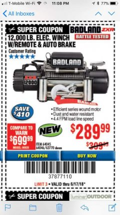 Harbor Freight Coupon BADLAND ZXR12000 12000 LB. OFF-ROAD VEHICLE ELECTRIC WINCH WITH AUTOMATIC LOAD-HOLDING BRAKE Lot No. 64045/64046/63770 Expired: 6/17/18 - $289.99