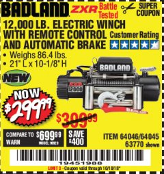 Harbor Freight Coupon BADLAND ZXR12000 12000 LB. OFF-ROAD VEHICLE ELECTRIC WINCH WITH AUTOMATIC LOAD-HOLDING BRAKE Lot No. 64045/64046/63770 Expired: 10/18/18 - $299.99