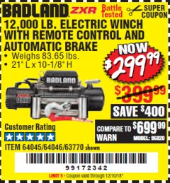 Harbor Freight Coupon BADLAND ZXR12000 12000 LB. OFF-ROAD VEHICLE ELECTRIC WINCH WITH AUTOMATIC LOAD-HOLDING BRAKE Lot No. 64045/64046/63770 Expired: 12/10/18 - $299.99