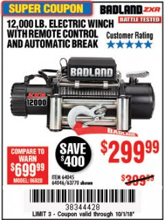 Harbor Freight Coupon BADLAND ZXR12000 12000 LB. OFF-ROAD VEHICLE ELECTRIC WINCH WITH AUTOMATIC LOAD-HOLDING BRAKE Lot No. 64045/64046/63770 Expired: 10/1/18 - $0