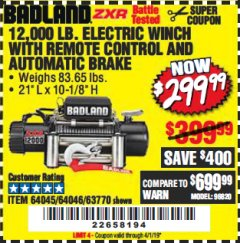 Harbor Freight Coupon BADLAND ZXR12000 12000 LB. OFF-ROAD VEHICLE ELECTRIC WINCH WITH AUTOMATIC LOAD-HOLDING BRAKE Lot No. 64045/64046/63770 Expired: 4/1/19 - $299.99
