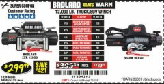 Harbor Freight Coupon BADLAND ZXR12000 12000 LB. OFF-ROAD VEHICLE ELECTRIC WINCH WITH AUTOMATIC LOAD-HOLDING BRAKE Lot No. 64045/64046/63770 Expired: 12/2/19 - $299.99